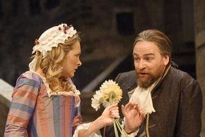 Nicola Roy as Agnes and Peter Forbes as Arnolphe appear in Educating Agnes, by Liz Locchead, directed by Tony Cownie, at the Lyceum Theatre in Edinburgh. Photo Douglas McBride.