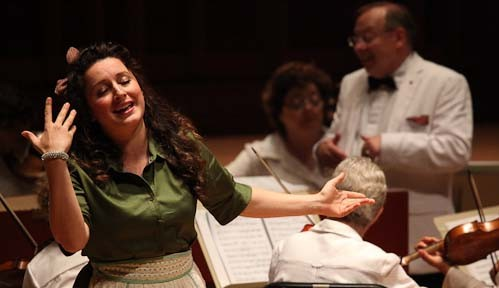 Yulia Van Doren as Dorinda and Nicholas McGegan conducting in Handel's Orlando at Tanglewood. Photo Hilary-Scott.