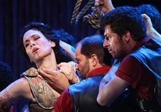 Alexandra Deshorties as Medea with the Argonauts in The Glimmerglass Festival's 2011 production of Cherubini's Medea. Photo Julieta Cervantes.