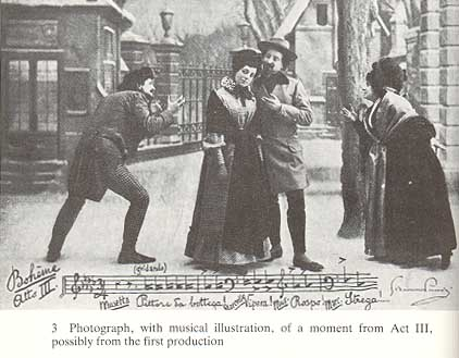 A scene from Puccini's La Bohème, possibly from the first production.