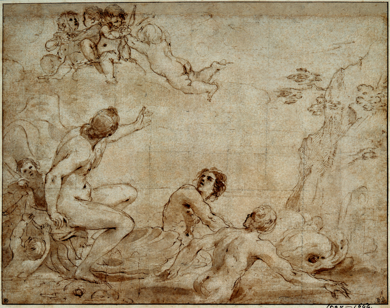 Guercino (Cento 1591–Bologna 1666). The Triumph of Galatea, Pen and brown ink with brown wash, squared in black chalk, with later framing lines in pen and brown ink.