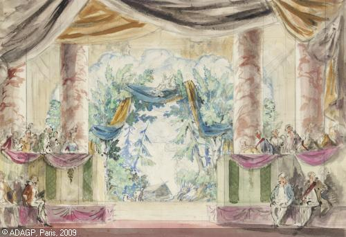 Alexandr Benois. The Queen of Spades' (1921). Design for the masked ball, Act II. Watercolor and pencil on paper.
