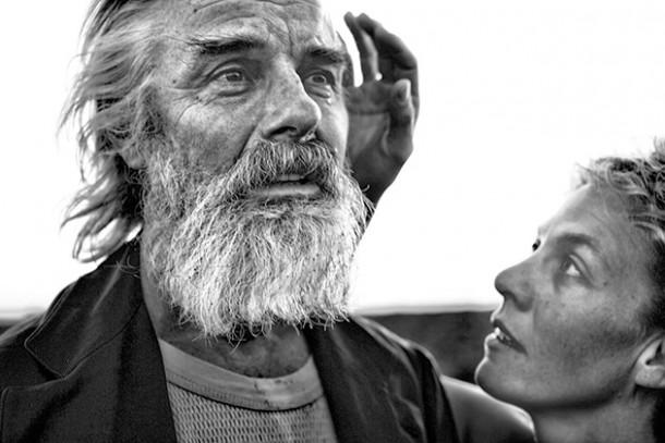John Hadden (King Lear) and Ava Roy (Cordelia) at Hubbard Hall.