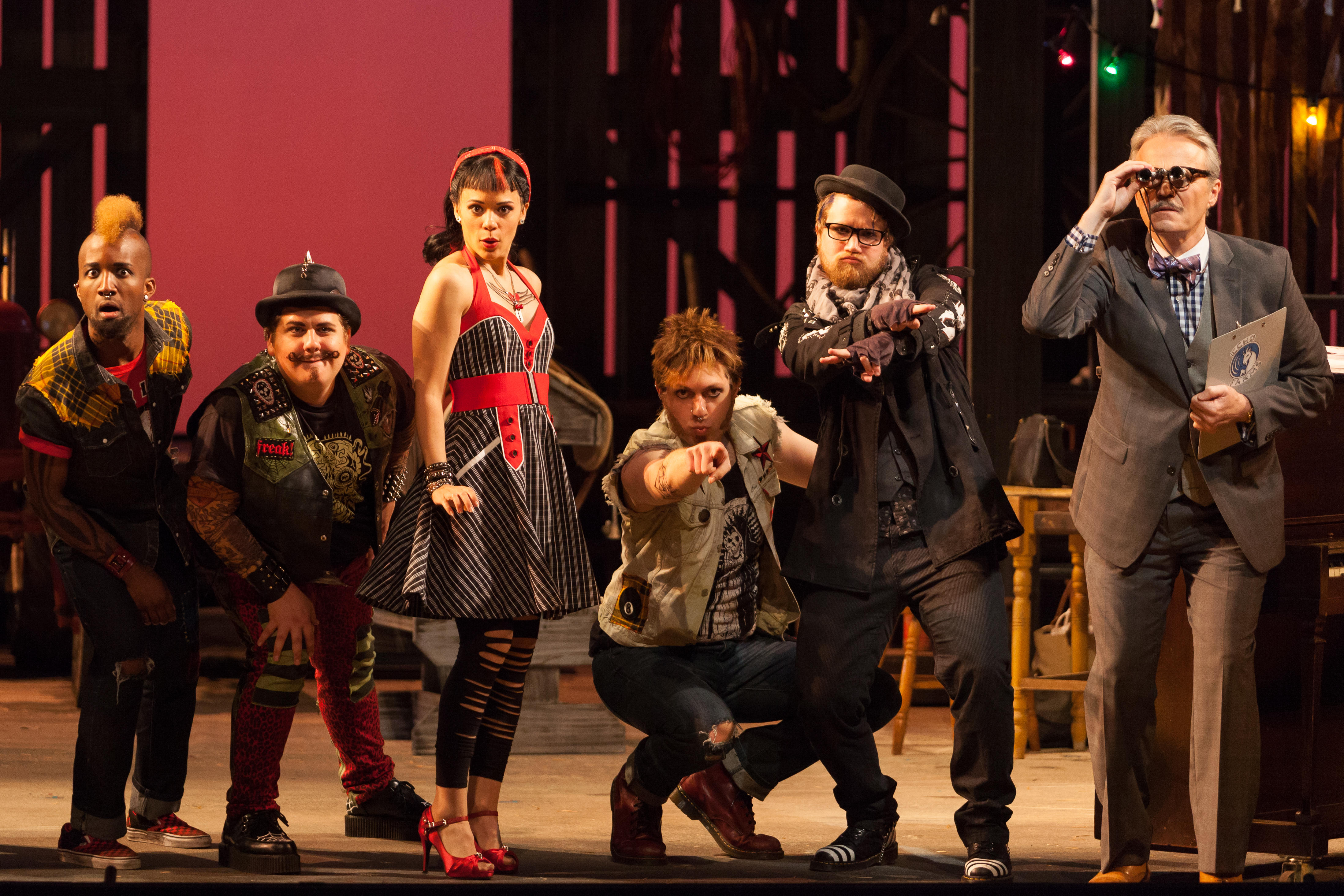 """L to R: Carlton Ford as Harlequin, Brian Ross Yeakley as Brighella, Rachele Gilmore as Zerbinetta, Gerard Michael D'Emilio as Truffaldino, Andrew Penning as Scaramuccio and Wynn Harmon as Manager of the Estate in The Glimmerglass Festival's 2014 production of Strauss' """"Ariadne in Naxos."""" Photo Karli Cadel/The Glimmerglass Festival."""