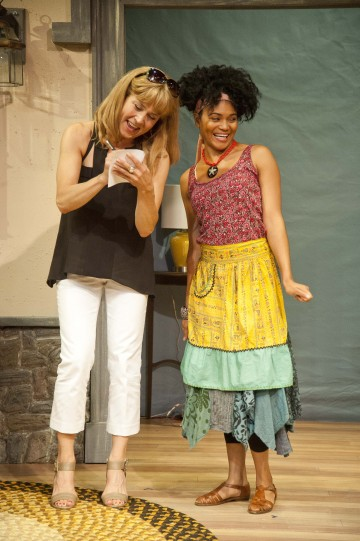 Elizabeth Aspenlieder and Angel Moore in Vanya and Sonia and Masha and Spike. Photo Kevin Sprague.