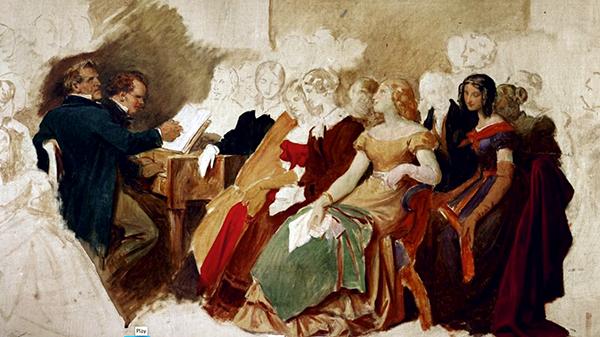 A Schubertiade. Moritz von Schwind, watercolor
