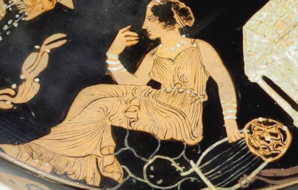 A Woman Singer, ancient Greek red-figure vase-painting