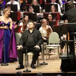 Christine Goerke as Brünnhilde and James Rutherford as Wotan with Andris Nelsons and the Tanglewood Music Center Orchestra in 'Die Walküre' July 28 at Tanglewood. Photo Hilary Scott.