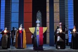 Joo Won Kang (Second Priest), David Pittsinger (The Speaker), Kristinn Sigmundsson (Sarastro) and Christopher Jackson (First Priest). Photo by Cory Weaver.