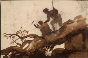 Claude Lorrain, An Artist Sketching with a Second Figure Looking On, 1635-40, Black chalk with dark brown wash on white paper, 8 1/2 by 12 5/8 inches The British Museum, London