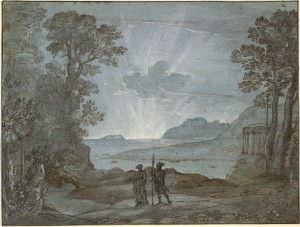 Claude Lorrain, Coast View with Aeneas and the Cumaean Sibyl, 1673. Pen and brown ink with gray and gray-brown wash and white heightening on blue paper, 7 1/2 by 10 inches The British Museum, London