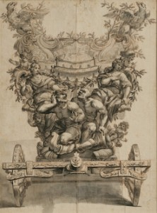 Giovanni Antonio Crecolini, (Italian, 1675–1725) Two Designs for a Processional Coach Pen and brown ink with gray wash, 1691 8 1/2 x 6 1/2 inches (each) Collection of Robert Loper