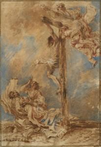 Giovanni Benedetto Castiglione (Italian, 1609–1664), The Crucifixion, Oil on paper, 16 x 11 in., c. 1651, Clark Art Institute, Williamstown