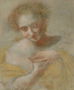 Giovanni da San Giovanni (Italian, 1592–1636), A Young Woman in a Yellow Robe, Black, red, and other colored chalk on blue paper, 9 7/8 x 8 1/8 in., c. 1630, Clark Art Institute, Williamstown