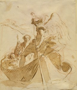 Giovanni Battista Tiepolo, (Italian, 1696–1770), The Flight into Egypt, Pen and brush with brown ink and brown wash over red chalk, 9 5/8 x 8 in., c. 1750–60, Clark Art Institute, Williamstown