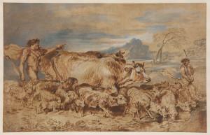 Giovanni Benedetto Castiglione, Landscape with Herdsmen, Cattle, and Sheep, David Tunick