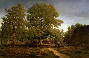 Théodore Rousseau's La Ferme dans les Landes - La maison du Garde, oil on canvas, Sterling and Francne Clark Art Institute