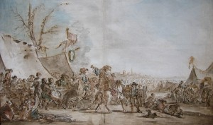 Charles Parrocel (1688 - 1752), Marriage Ceremony at a Military Encampment, watercolor, Stiebel Ltd.