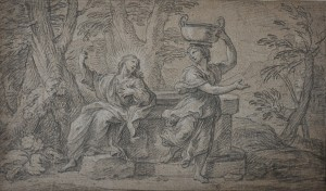 Pierre Parrocel, Christ and the Samaritan Woman, Black chalk with highlights in white chalk on a beige paper, Richard A. Berman
