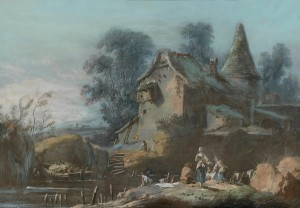 Jean-Baptiste Pillement, A Mill Beside a River, washerwomen in the foreground