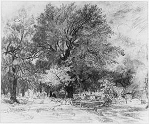 Study for Ferme dans les Landes by Théodore Rousseau, 1844, Pencil, 40 by 47 cm. (Private collection)
