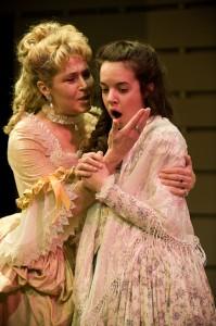 Elizabeth Aspenlieder and Lydia Barnett-Mulligan in Dangerous Liaisons. Photo Kevin Sprague.
