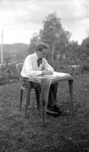 Walter Burley Griffin multitasking in Castlecrag, 1930