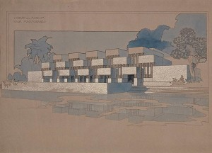 Library for the Raja of Mahmudabad (1937), drawing by Marion Mahony Griffin