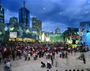 Federation Square, Melbourne, by LAB Architects, opened 2002