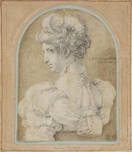 Rosso Fiorentino (Italian, Florence 1494 - 1540 Fontainebleau), Bust of a Woman with an Elaborate Coiffure, 1530s. Black chalk, 23.6 x 17.7 cm, Metropolitan Museum of Art, Rogers Fund, 1952 (52.124.2).