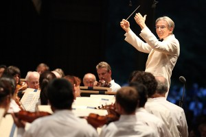 Michael Tilson Thomas leads the BSO in Mahler's Symphony No. 2 on Opening Night. Photo Hilary Scott.