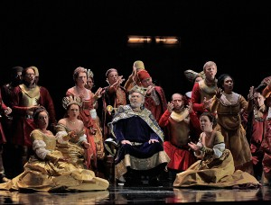 Lewis Spratlan's Life is a Dream: John Cheek (King Basilio) & Chorus. Photo Ken Howard.