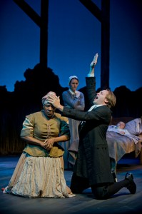 Starla Benford, Jessica Griffin and Fletcher McTaggart in the Crucible. Photo Kevin Sprague.