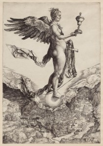 Albrecht Dürer, Nemesis (The Great Fortune) c. 1502. Engraving. The Sterling and Francine Art Institute 1968.53