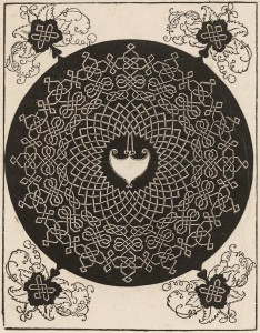 Albrecht Dürer, Knot with a Heart-Shaped Shield, c. 1507, Woodcut. Sterling and Francine Art Institute 1968.280