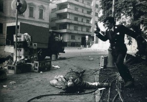 Leonard Freed, Bucharest, 1989, Palace Square during the Romanian revolution