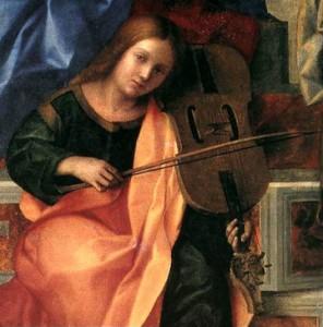 Giovanni Bellini (Venice ?1431–6 - 1516), San Zaccaria Altarpiece, detail of angel playing lira da braccio, 1505, oil on panel.