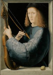 Here attributed to Lorenzo di Credi (Florence 1456-1536), Portrait of a Young Man Holding a Lira da braccio, c. 1510–20, oil on panel.