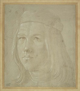 Lorenzo di Credi (Florence 1456-1536), Head of a Youth, c. 1500, metalpoint, heightened with white, on grey prepared paper. Museum of Fine Arts, Boston.