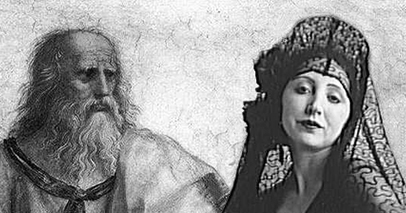 Plato and Anaïs in the School of Athens. Detail. Photomontage © 2011 Michael Miller.