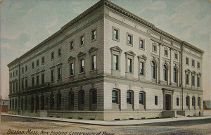 The New England Conservatory, Boston, in a vintage postcard