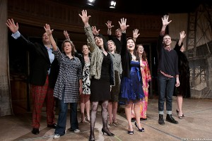 The cast of Stephen Sondheim's Merrily We Roll Along at Hubbard Hall