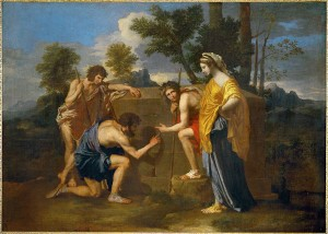 Nicolas Poussin, Arcadian shepherds ('Et in Arcadia Ego'), ca. 1650, oil on canvas, Musée du Louvre Inv. 7300