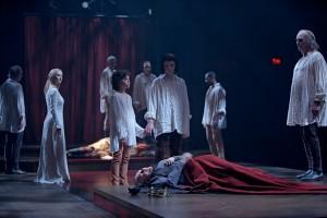 Seana McKenna (foreground, on floor) as King Richard with members of the company in Richard III. Photo David Hou.
