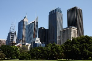 The Sydney CBD's eastern flank — including Foster's Deutsche Bank Place, Piano's Aurora Place and JPW's Governor Philip Tower — seen from the Botanical Gardens. Photo © 2010 Alan Miller.