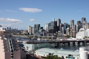 The Sydney CBD's western flank seen from Pyrmont. Photo © 2010 Alan Miller.