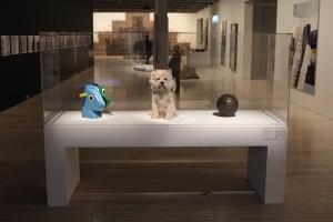 Split-rocker (green/blue), 1999, White terrier, 1991, Basketball, 1985, all by Jeff Koons. Photo © 2011 Alan Miller.