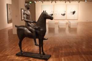 Marino Marini, Rider, 1936, with Three studies of the Termeraire by Cy Twombly, 1998-99. Photo © 2011 Alan Miller.