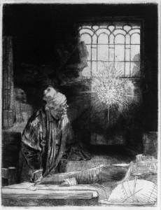 Rembrandt van Rijn, Faust, etching, Rijksmuseum, c. 1652.