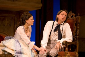 Mia Barron, Jon Patrick Walker in a scene from She Stoops To Conquer at Williamstown Theatre Festival. Photo T. Charles Erickson.